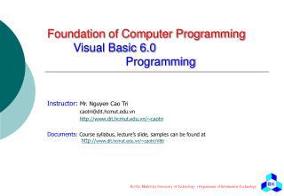 Foundation of Computer Programming  Visual Basic 6.0     Programming