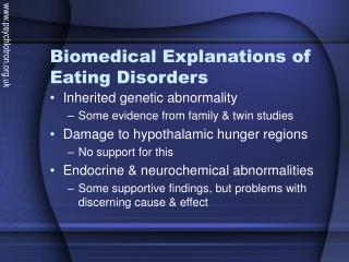 Biomedical Explanations of Eating Disorders