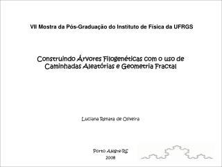 VII Mostra da P s-Gradua  o do Instituto de F sica da UFRGS