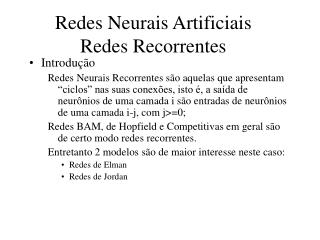 Redes Neurais Artificiais Redes Recorrentes