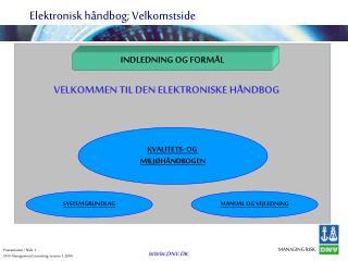 Elektronisk h ndbog; Velkomstside