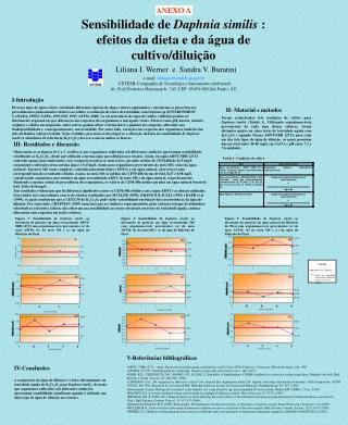 Sensibilidade de Daphnia similis : efeitos da dieta e da  gua de cultivo