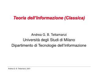 Teoria dell Informazione Classica