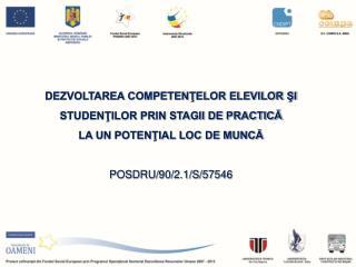 DEZVOLTAREA COMPETENTELOR ELEVILOR SI STUDENTILOR PRIN STAGII DE PRACTICA  LA UN POTENTIAL LOC DE MUNCA  POSDRU