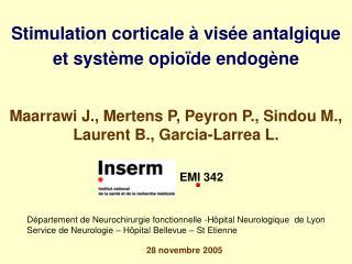 Stimulation corticale   vis e antalgique et syst me opio de endog ne