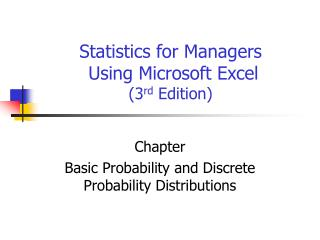 Statistics for Managers  Using Microsoft Excel  3rd Edition