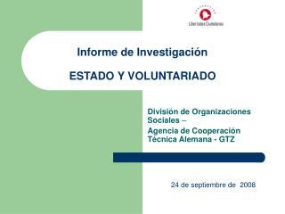 Informe de Investigaci n  ESTADO Y VOLUNTARIADO