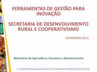 FERRAMENTAS DE GEST O PARA INOVA  O  SECRETARIA DE DESENVOLVIMENTO RURAL E COOPERATIVISMO    NOVEMBRO 2011