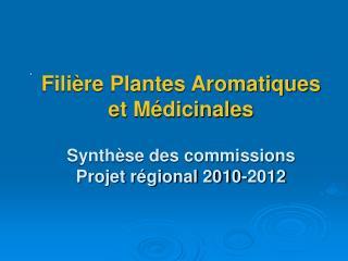 Fili re Plantes Aromatiques  et M dicinales   Synth se des commissions  Projet r gional 2010-2012