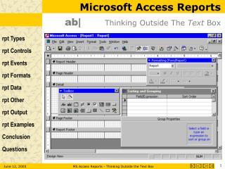Microsoft Access Reports