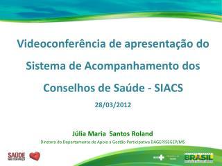Videoconfer ncia de apresenta  o do Sistema de Acompanhamento dos Conselhos de Sa de - SIACS 28