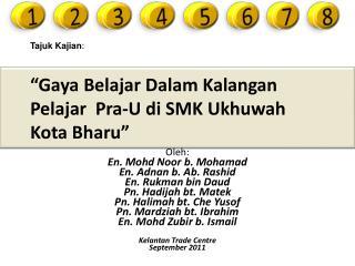 Gaya Belajar Dalam Kalangan Pelajar  Pra-U di SMK Ukhuwah Kota Bharu