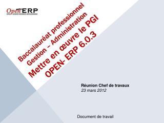 Baccalaur at professionnel Gestion   Administration Mettre en  uvre le PGI OPEN- ERP 6.0.3
