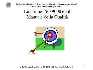 Le norme ISO 9000 ed il  Manuale della Qualit