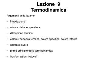 Lezione  9  Termodinamica