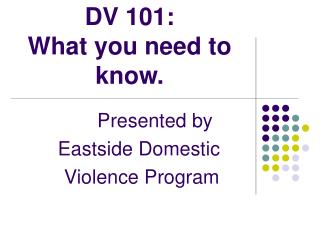 DV 101:  What you need to know.