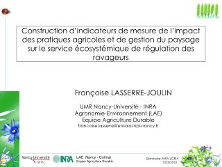 Construction d indicateurs de mesure de l impact des pratiques agricoles et de gestion du paysage sur le service  cosyst