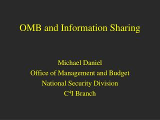 OMB and Information Sharing