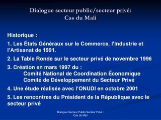 Dialogue secteur public