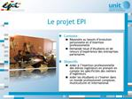 EPI : Evolution Personnelle et Insertion professionnelle