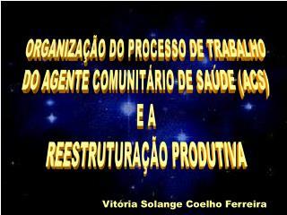 ORGANIZA  O DO PROCESSO DE TRABALHO DO AGENTE COMUNIT RIO DE SA DE ACS E A REESTRUTURA  O PRODUTIVA