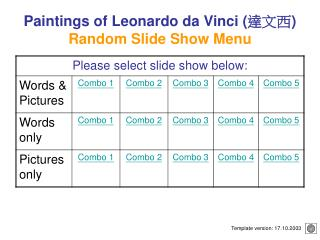 Paintings of Leonardo da Vinci  Random Slide Show Menu
