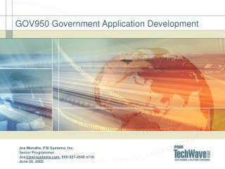 GOV950 Government Application Development