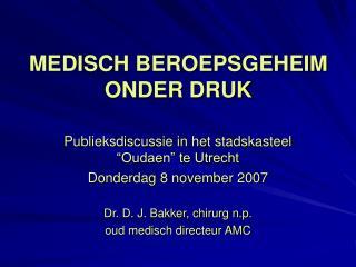 MEDISCH BEROEPSGEHEIM ONDER DRUK