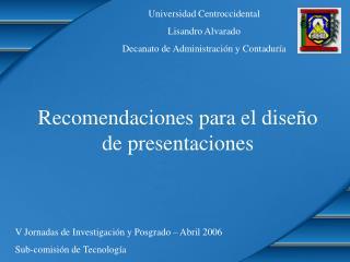 Recomendaciones para el dise o de presentaciones