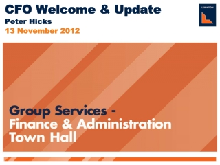 Group Services - Finance & Administration Town Hall Meeting