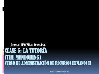 Clase 5: La tutor a the mentoring curso de administraci n de recursos humanos II