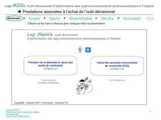 Fran ois PESTY Pharmacien, Institut Sup rieur de Gestion Consultant ITG Francois.PESTYWanadoo.fr
