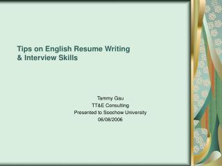 Tips on English Resume Writing   Interview Skills