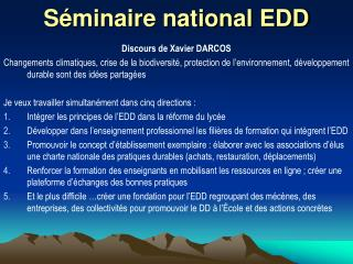 S minaire national EDD