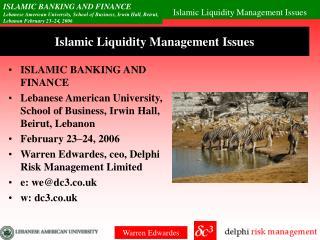Islamic Liquidity Management Issues