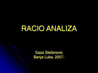 RACIO ANALIZA