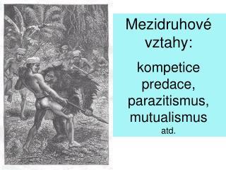 Mezidruhov  vztahy:  kompetice predace, parazitismus, mutualismus atd.