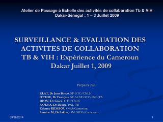 SURVEILLANCE  EVALUATION DES ACTIVITES DE COLLABORATION  TB  VIH : Exp rience du Cameroun  Dakar Juillet 1, 2009