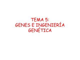 TEMA 5:  GENES E INGENIER A GEN TICA