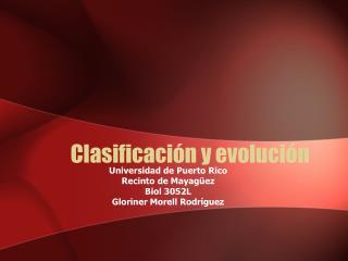 Clasificaci n y evoluci n