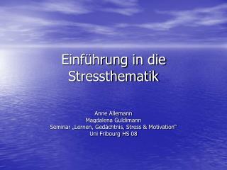 Einf hrung in die Stressthematik