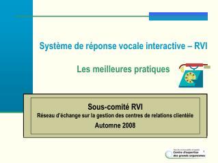 Syst me de r ponse vocale interactive   RVI  Les meilleures pratiques