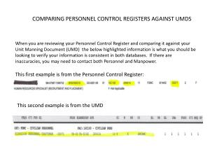 COMPARING PERSONNEL CONTROL REGISTERS AGAINST UMDS