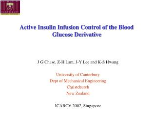 Active Insulin Infusion Control of the Blood Glucose Derivative