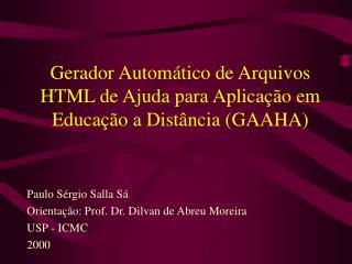 Gerador Autom tico de Arquivos HTML de Ajuda para Aplica  o em Educa  o a Dist ncia GAAHA