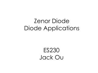 Zenor Diode Diode Applications