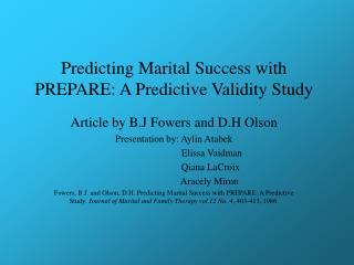 Predicting Marital Success with PREPARE: A Predictive Validity Study