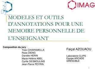 MODELES ET OUTILS DANNOTATIONS POUR UNE MEMOIRE PERSONNELLE DE L ENSEIGNANT
