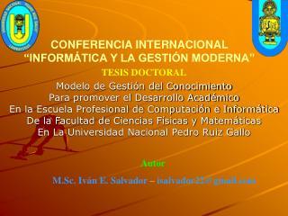 CONFERENCIA INTERNACIONAL  INFORM TICA Y LA GESTI N MODERNA