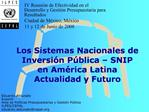 Los Sistemas Nacionales de Inversi n P blica   SNIP en Am rica Latina Actualidad y Futuro